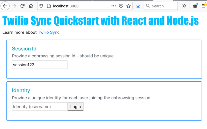 Sync React Quickstart Screen - Not Logged In