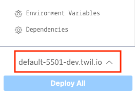 A screenshot of the Serverless functions selection tool in the Twilio Console