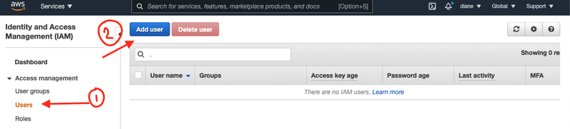Instructions to Add user under the Identity and Access Management (IAM) console