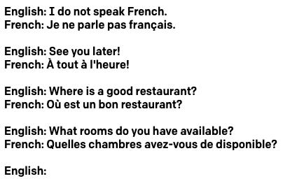 Configuraciones predefinidas de traducción del inglés al francés