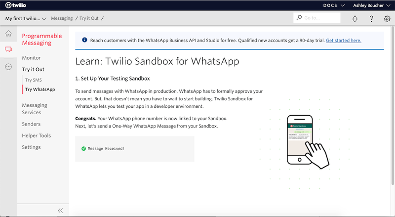 Screenshot of successful WhatsApp Sandbox Connection