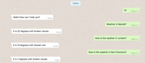 Pantalla de WhatsApp con el bot funcionando