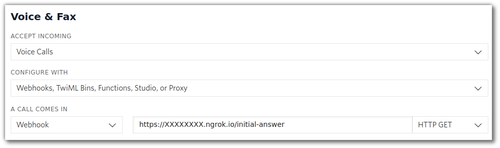 """Screenshot of the Twilio console showing where to set the """"When a call comes in"""" webhook"""