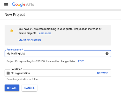 Create a new Google project screenshot