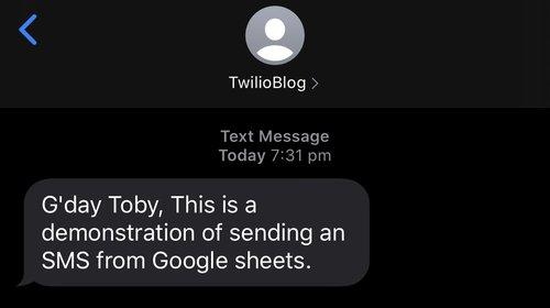 Successful message screen shot.