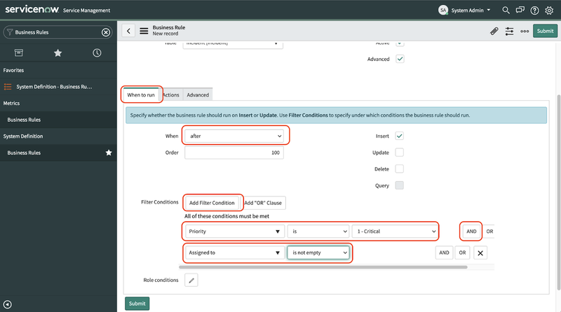 A screenshot of the Business Rule detail page in the ServiceNow dashboard