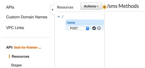 API Gateway sms endpoint