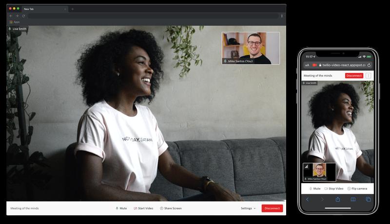 Capturas de pantalla de la interfaz de usuario de Video WebRTC Go para la app de implementación rápida ReactJS en dispositivos móviles y de escritorio