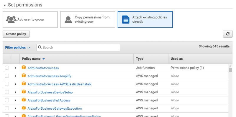 Setting Permissions for your IAM user