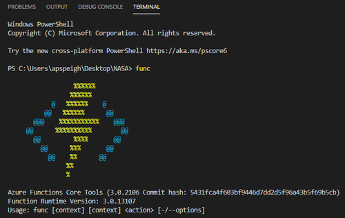 verify azure functions core tools is installed