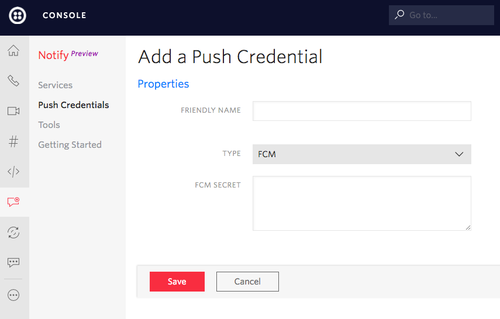 Add FCM Push Credential