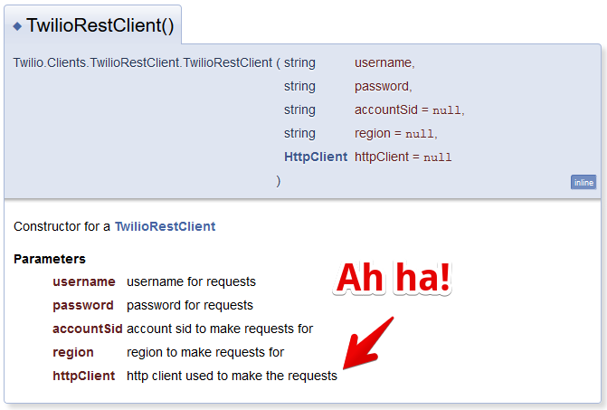TwilioRestClient Constructor (C#)