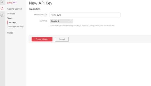 Twilio Create API Key page
