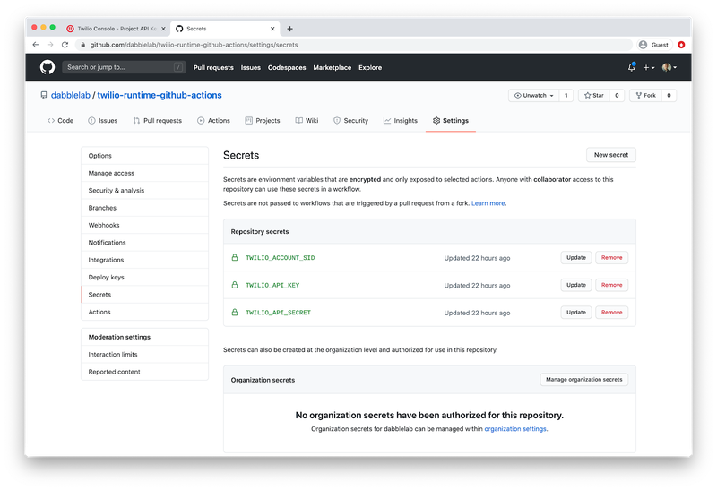 Setup GitHub Secrets