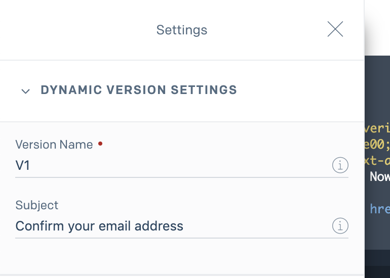 Dynamic Email Settings
