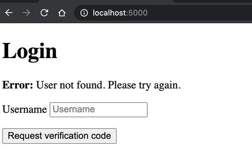 localhost:5000 index login page with error message