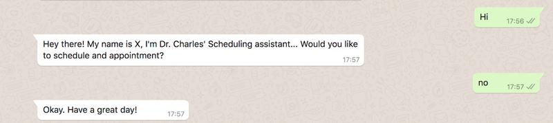 Ejemplo de WhatsApp de respuesta 'No'