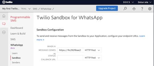 WhatsApp webhook configuration
