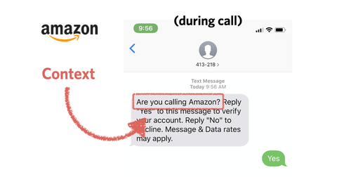 amazon sms verification during call