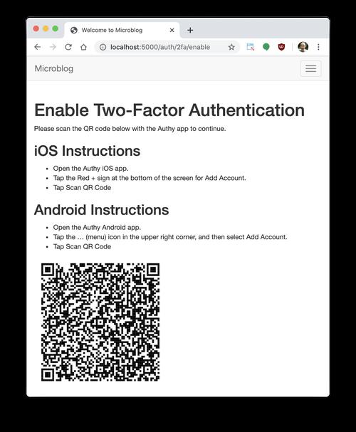 2FA registration screenshot