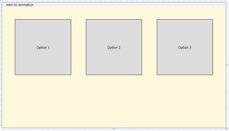 Screenshot showing completed Intro to Animation application window with 3 square option buttons
