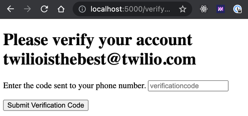 localhost asking to verify the account with a code sent to the phone number