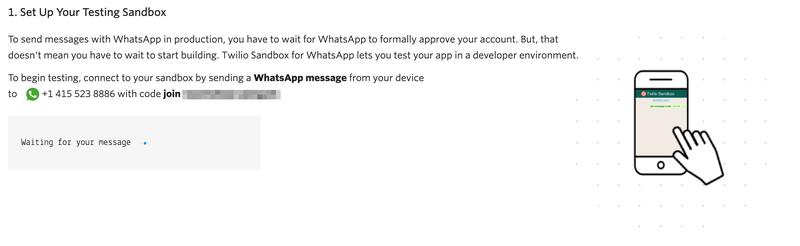 The Twilio Sandbox for WhatsApp screenshot