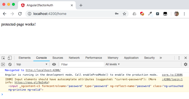 Protected page in Angular