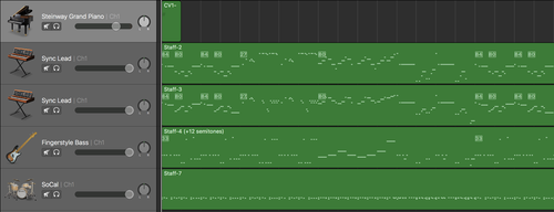 Garage Band project with the MIDI tracks