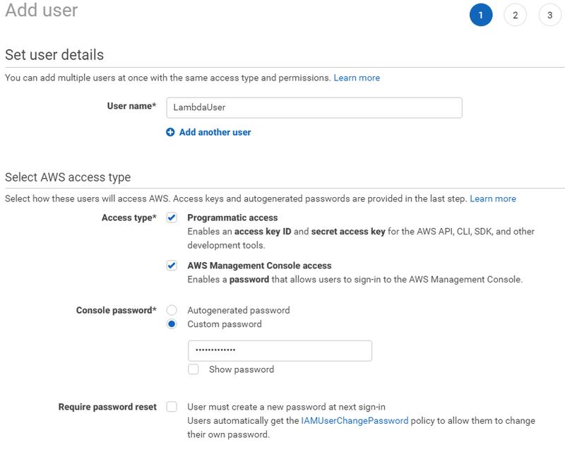 Adding an AWS IAM user account