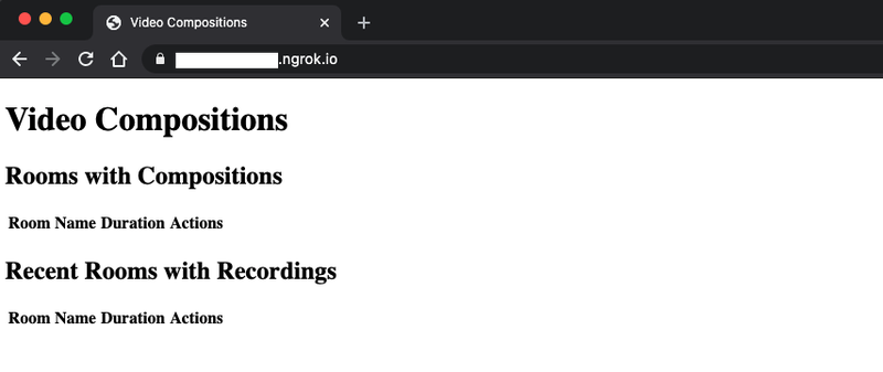 Browser window pointing to an ngrok.io URL, displaying the Video Compositions header and two tables with no styling added.