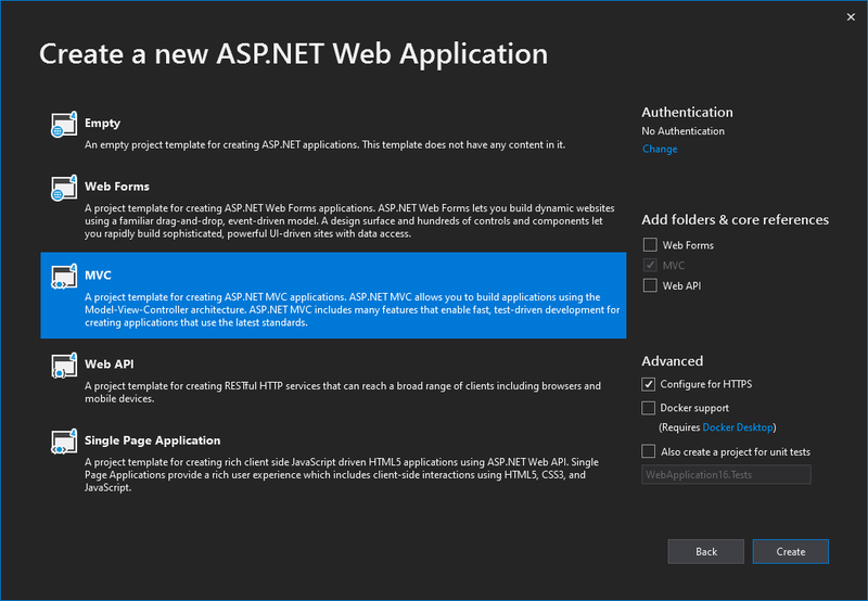 Visual Studio 2019 0 Create a new ASP.NET Web Application