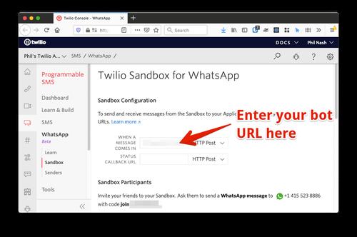 Página de configuração da sandbox da Twilio para WhatsApp. Você deve adicionar o URL do ngrok no campo  'When a message comes in' (Quando uma mensagem é recebida).