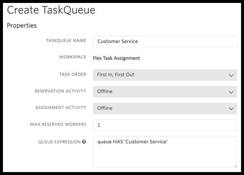 Enter new TaskQueue information for Flex