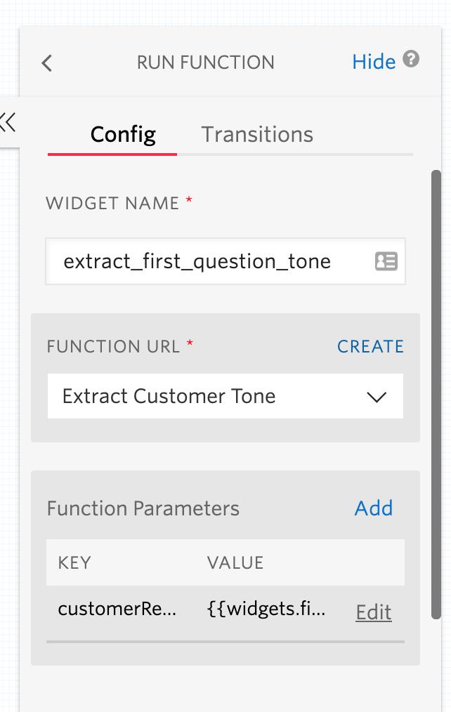 Twilio Function widget configuration