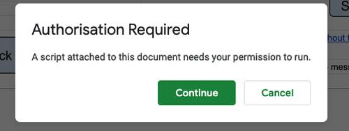 Apps Script Authorisation dialogue 1.