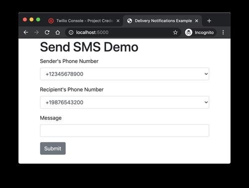 send sms demo screenshot