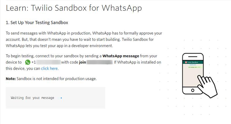 Whatsapp Sandbox Activation Screen