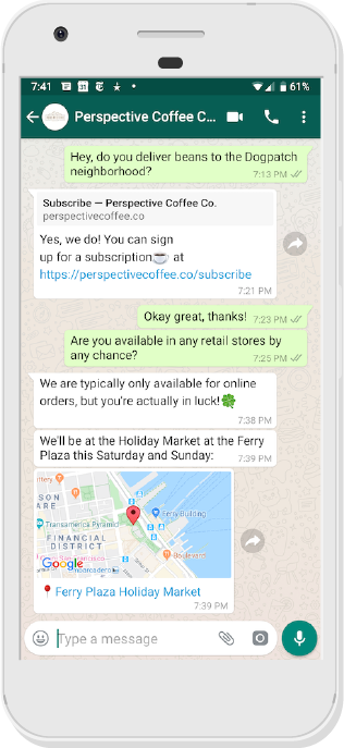 Location support in Twilio API for WhatsApp