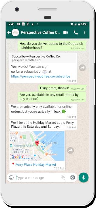 Location support in Twilio API for WhatsApp