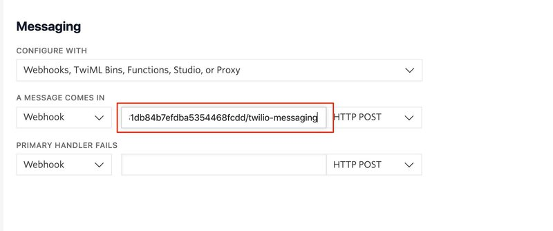 A screenshotted image of the Messaging configuration in the Programmable Phone Numbers console with a red bordered box around the input field where the developer may paste the channel URL to activate their Autopilot Assistant on an incoming SMS message.