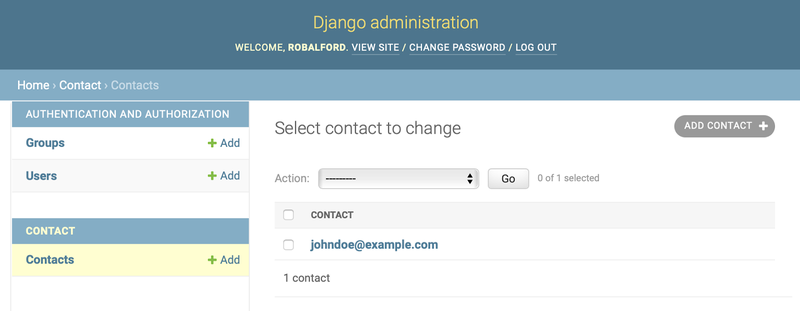 Django admin page