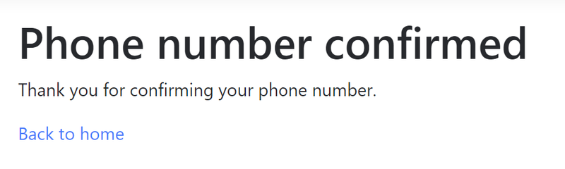 Phone number confirmed screen