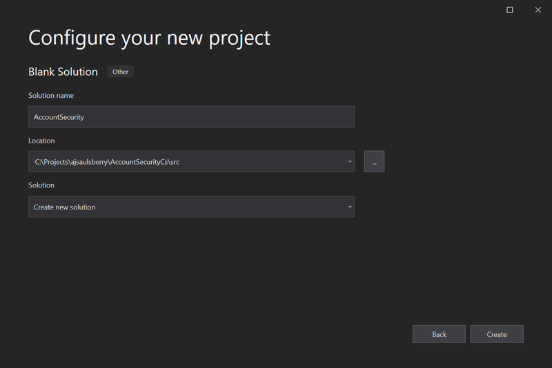 Visual Studio 2019 Configure your new project window