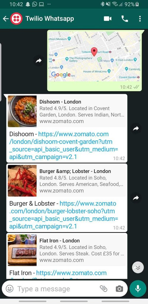 Screenshot of WhatsApp Convo showing a reply to a location message with list of restaurants