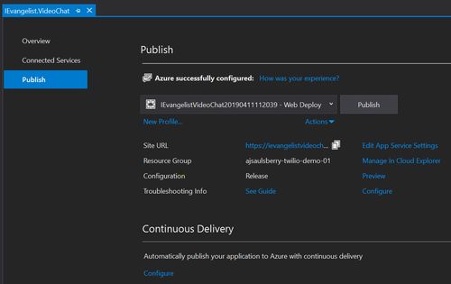 Visual Studio Publish dialog box for Azure screenshot