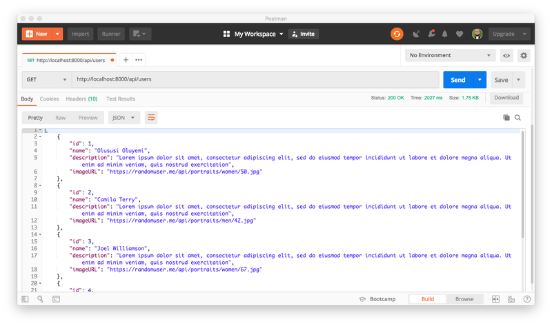 Postman GET request for /api/users