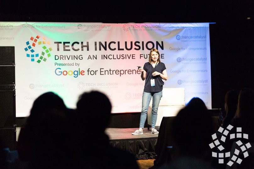 Michelle Glauser speaking, courtesy of Tech Inclusion