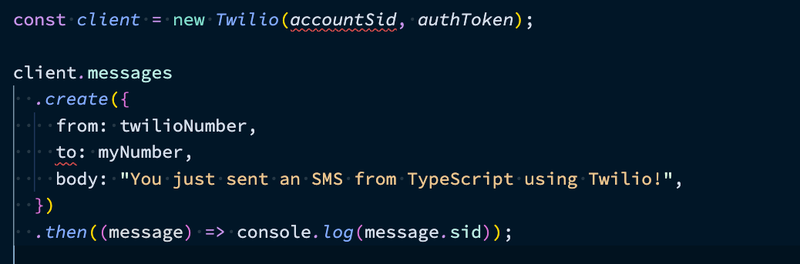"""A screen shot of the code we wrote earlier to create an API client and send the message. """"accountSid"""" and """"to"""" are underlined in red."""