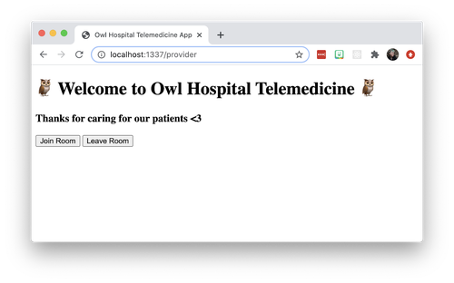 "Screenshot of the front end of a telemedicine app. Large text says ""Welcome to Owl Hospital Telemedicine."" Small text says ""Thanks for caring for our patients <3"". There are 2 buttons, ""Join Room"" and ""Leave Room"". Page has no styling."